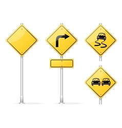 Blank traffic sign yellow vector