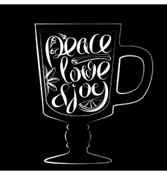 Christmas lettering peace love joy vector