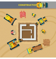 Construction Process Top View vector image vector image