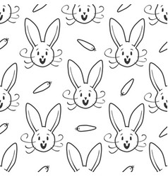Cute bunny seamless pattern hand drawn vector