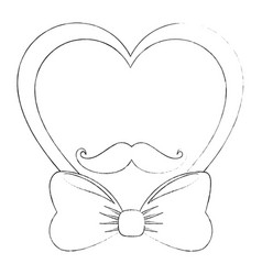 Decorative heart with bow vector
