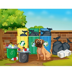 Dog and trashcans vector image vector image