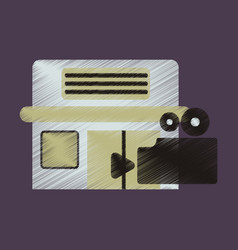 Flat icon in shading style building cinema camera vector