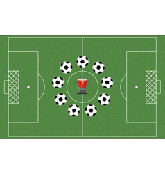 Football field with playing balls vector