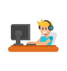 gaming man with headphones vector image vector image