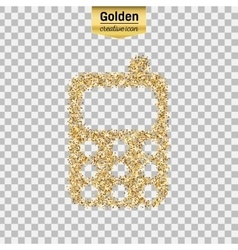 Gold glitter icon of mobile phone isolated vector image vector image
