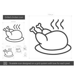 Grilled chicken line icon vector