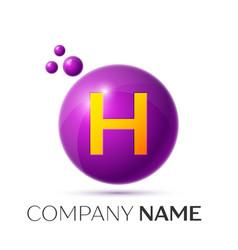 H letter splash purple dots and circle bubble vector