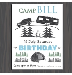 Invitation or brochure for birthday in the camp on vector