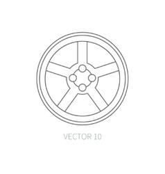 Line flat icon car repair part - wheel vector