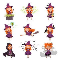 Little girl witch set wearing purple dress and hat vector