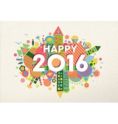 New year 2016 happy greeting card fun colorful vector image vector image