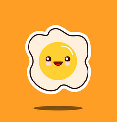 optimistic fried egg kawaii character cute face vector image vector image