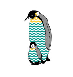 Penguins baby and parent vector