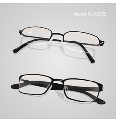 Realistic metal and plastic framed glasses set vector