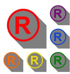 registered trademark sign set of red orange vector image