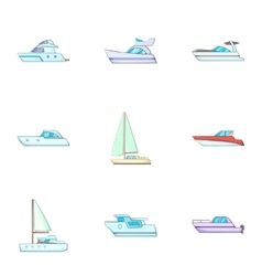 Ship transportation icons set cartoon style vector