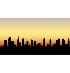 Skyline aerial view at sunset with skyscrapers vector