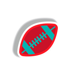 Stylish icon in paper sticker style rugby ball vector