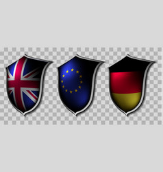 three shields with flags vector image vector image