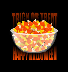 trick or treat happy halloween bowl and candy vector image