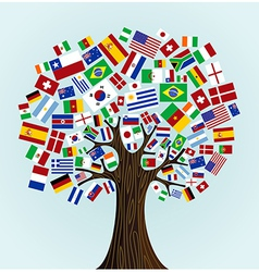 World flags tree vector
