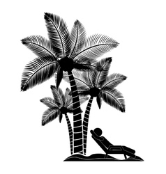 Person beach chair with palm trees vector