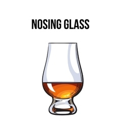 Scotch whiskey rum brandy nosing glass vector
