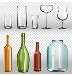 Glass bottles ans realistic transparent 3d set vector
