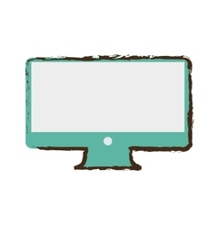 Computer screen monitor technology sketch vector