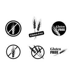 Set of six gluten free symbols with banned vector