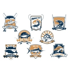Sea and river fish and rods isolated icons vector image