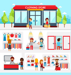 People shopping in the clothing store shop vector