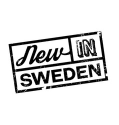 New in sweden rubber stamp vector