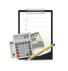 Dollars note pen and calculator on a white vector