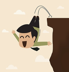 Businessman jump from a cliff vector
