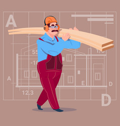 Cartoon builder holding planks wearing uniform and vector
