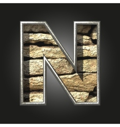 Old stone letter n vector