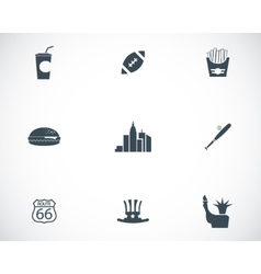 black USA icons set vector image