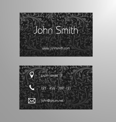 Business card template in black floral pattern vector