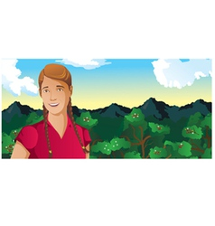 Woman outdoors coffee field vector
