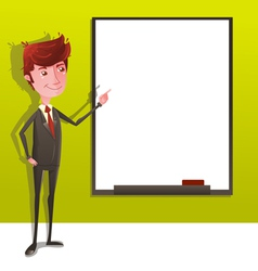 Businessman presentation with white board vector