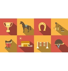 Flat style horse icons vector