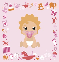 Baby shower design its a girl vector