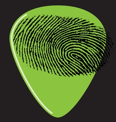 Guitar pick fingerprint green vector