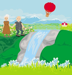 Senior couple walking in hills vector