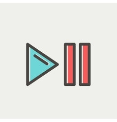 Play pause button thin line icon vector