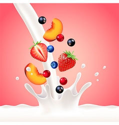 Pouring milk splash with fruits background vector
