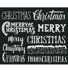 Collection of merry christmas hand lettering vector