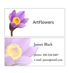 Two-sided business visit card with floral pattern vector